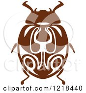 Clipart Of A Brown And White Beetle 2 Royalty Free Vector Illustration by Vector Tradition SM