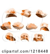 Clipart Of Hilly Autumn Designs Royalty Free Vector Illustration