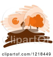 Clipart Of A Hilly Autumn Design 8 Royalty Free Vector Illustration
