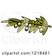 Clipart Of Green Olives With Leaves 3 Royalty Free Vector Illustration