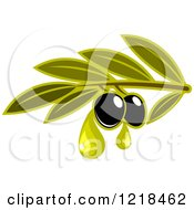 Clipart Of Black Olives With Dripping Oil And Leaves 2 Royalty Free Vector Illustration