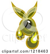 Clipart Of Black And Green Olives With Dripping Oil And Leaves Royalty Free Vector Illustration