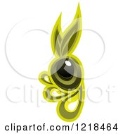 Clipart Of Black And Green Olives With Dripping Oil And Leaves 2 Royalty Free Vector Illustration