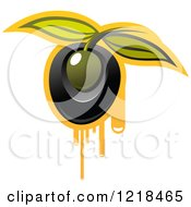 Clipart Of Black And Green Olives With Dripping Oil And Leaves 3 Royalty Free Vector Illustration