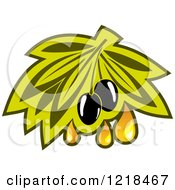 Clipart Of Black Olives With Dripping Oil And Leaves Royalty Free Vector Illustration