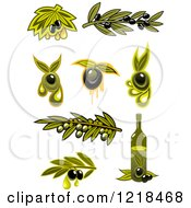 Clipart Of Black And Green Olives With Leaves And Oil Royalty Free Vector Illustration