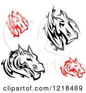 Clipart Of Black And White And Red Tribal Horses Royalty Free Vector Illustration