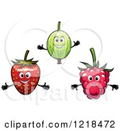 Clipart Of Happy Gooseberry Strawberry And Raspberry Characters Royalty Free Vector Illustration