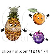 Clipart Of Happy Pineapple Apricot And Plum Characters Royalty Free Vector Illustration