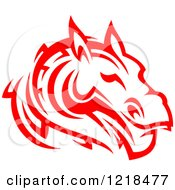 Clipart Of A Red Tribal Horse 4 Royalty Free Vector Illustration