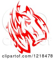 Clipart Of A Red Tribal Horse 3 Royalty Free Vector Illustration