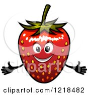 Clipart Of A Happy Strawberry Character Royalty Free Vector Illustration