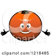 Clipart Of A Happy Orange Character Royalty Free Vector Illustration