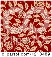 Clipart Of A Vintage Seamless Red And Tan Floral Rose Pattern Royalty Free Vector Illustration