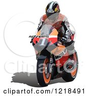 Clipart Of A Man Riding A Motorcycle Royalty Free Vector Illustration