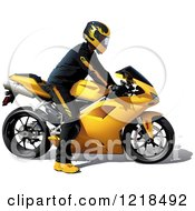 Clipart Of A Man Riding A Yellow Motorcycle Royalty Free Vector Illustration