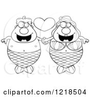 Clipart Of A Black And White Mermaid Couple Holding Hands Under A Heart Royalty Free Vector Illustration