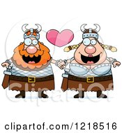 Clipart Of A Viking Couple Holding Hands Under A Heart Royalty Free Vector Illustration by Cory Thoman