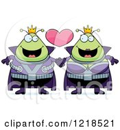 Clipart Of A Martian Alien Couple Holding Hands Under A Heart Royalty Free Vector Illustration