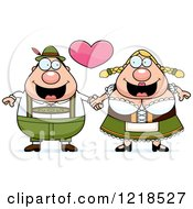 Clipart Of A Happy Oktoberfest Couple Holding Hands Under A Heart Royalty Free Vector Illustration by Cory Thoman