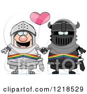 Clipart Of A Gay Knight Couple Holding Hands Under A Heart 2 Royalty Free Vector Illustration by Cory Thoman