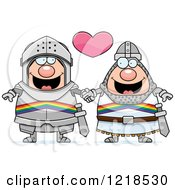 Clipart Of A Gay Knight Couple Holding Hands Under A Heart Royalty Free Vector Illustration by Cory Thoman