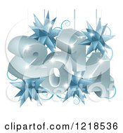 Clipart Of A 3d New Year 2014 Suspended With Christmas Star Ornaments Royalty Free Vector Illustration