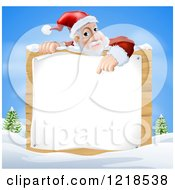 Clipart Of Santa Claus Pointing Down To A Christmsa Sign In A Winter Landscape Royalty Free Vector Illustration