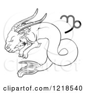 Clipart Of A Black And White Astrology Zodiac Capricorn Sea Goat And Symbol Royalty Free Vector Illustration