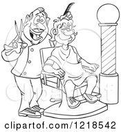 Outlined Happy Barber Cutting A Mans Hair