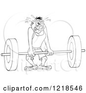 Clipart Of An Outlined Man Trying To Lift A Heavy Barbell Royalty Free Vector Illustration