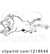 Clipart Of An Angry Outlined Wild Pig Boar Running Royalty Free Vector Illustration by LaffToon