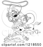Outlined Fat Horseback Cowboy Chasing A Rabbit With A Lasso