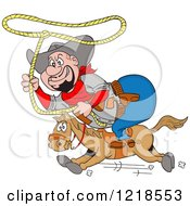 Fat Horseback Cowboy Swinging A Lasso