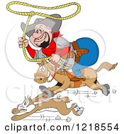 Horseback Fat Cowboy Chasing A Rabbit With A Lasso