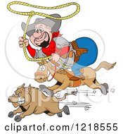 Horseback Fat Cowboy Chasing A Boar With A Lasso
