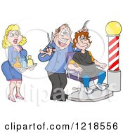 Female Assistant And Barber Cutting A Mans Hair