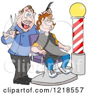 Clipart Of A Happy Barber Cutting A Mans Hair Royalty Free Vector Illustration by LaffToon
