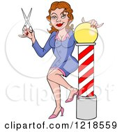 Clipart Of A Female Barbers Assistant Or Hairstylist Holding Scissors By A Pole Royalty Free Vector Illustration