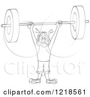 Outlined Man Struggling To Hold A Heavy Barbell Above His Head