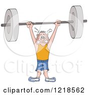 Man Struggling To Hold A Heavy Barbell Above His Head