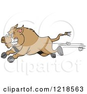Clipart Of An Angry Wild Pig Boar Running Royalty Free Vector Illustration by LaffToon