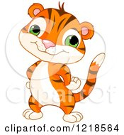 Clipart Of A Cute Baby Tiger Standing With His Hands On His Hips Royalty Free Vector Illustration by Pushkin