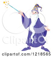 Clipart Of A Happy Wizard With A Long Beard Using A Magic Wand Royalty Free Vector Illustration