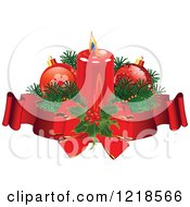 Christmas Candle With Baubles Holly And Ribbons