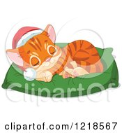 Clipart Of A Cute Christmas Ginger Kitten Sleeping On A Pillow Royalty Free Vector Illustration