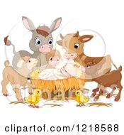 Clipart Of A Baby Jesus Surrounded By Cute Animals Royalty Free Vector Illustration by Pushkin