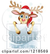 Clipart Of A Cute Christmas Reindeer Over A Sign With Snowflakes Royalty Free Vector Illustration