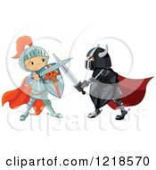Clipart Of A Good And Evil Knight Battling With Swords Royalty Free Vector Illustration by Pushkin