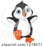 Clipart Of A Cute Baby Penguin Dancing Royalty Free Vector Illustration